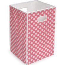 Best Quality Folding Hamper/Storage Bin - Pink with White Polka Dots By Badger by Educational &Fun By Badger