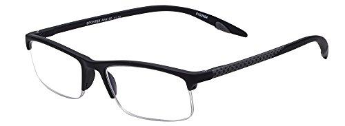 Sportex Readers Rectangular Reading Glasses Men's Semi-Rim, Gray, ()