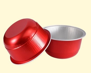 KEISEN 3 2/5'' 150ml 100/PK 6oz Disposable Aluminum Foil Cups for Muffin Cupcake Baking Bake Utility Ramekin Cup (red) by Keisen