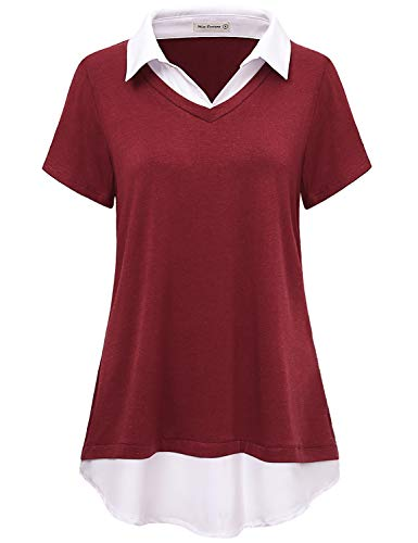 Miss Fortune Collared Tunics for Women to Wear with Leggings,Ladies Wine Shirts Petite Short Sleeve V Neck Layered Tops Pretty Semi Formal Classic 2 in 1 Blouse Chic Clothing Leisure Wear, Red S