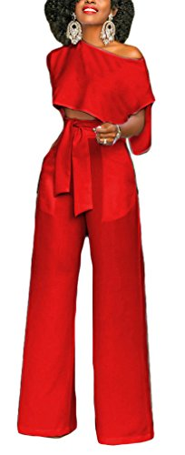 PinUp Angel Red Casual Cropped Jumpsuit Two Pieces Tie Front Wrap Wide Leg Fancy Romper (Velour Wide Leg)