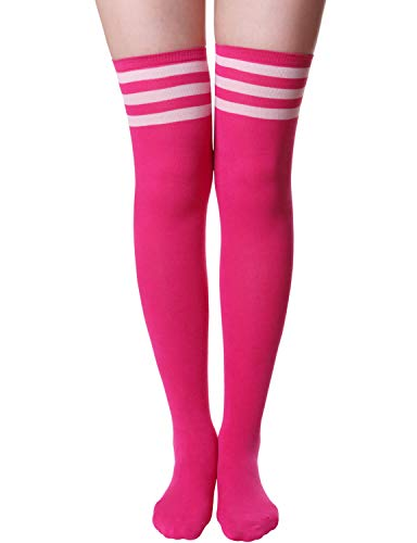 HASLRA Women's Tube Over The Knee High Socks 1 Pairs (Tube-PINK-L)