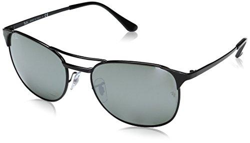 Ray-Ban Men's Metal Man Square Sunglasses, Shiny Black, 58 - Black Aviator Full Ban Ray