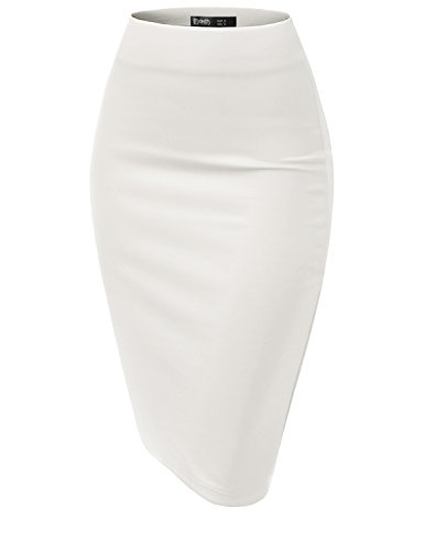 TWINTH Elastic Stretchy Office Pencil Skirt with Basic Color White -