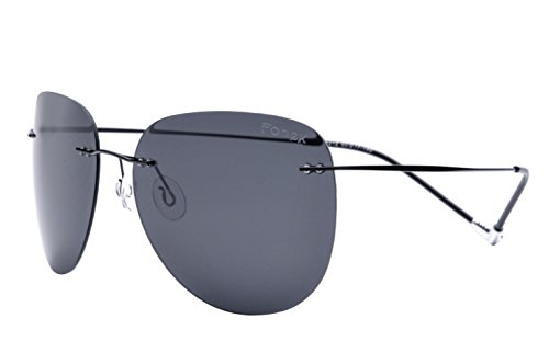 FONEX Women Rimless Titanium Alloy Sunglasses Frameless Aviation Sun Glasses 8212 (Black/Grey, - Aviation Sunglasses