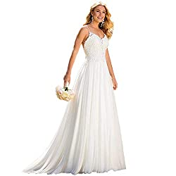 Beach Wedding Dresses for Bride 2019,Vintage A Line Backless Boho Lace Summer Wedding Dresses Women Plus Size Wedding Dress