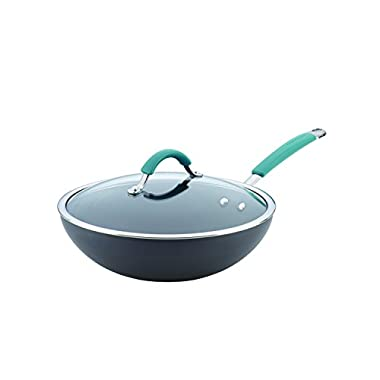 Rachael Ray Cucina Hard-Anodized Nonstick Covered Stir Fry Pan, 11-Inch, Gray, Agave Blue Handles