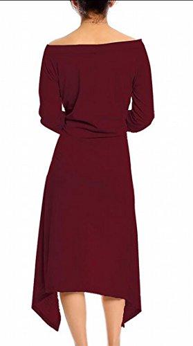 Jaycargogo Asymmetrical Swing Hem Wine Red Women Off Long Sleeve Dress Shoulder HHXrxq