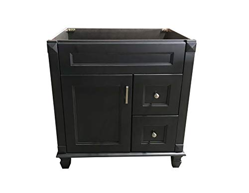 Carbon Metallic solid wood Single Bathroom Vanity Base Cabinet 30