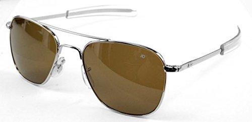 (AO Eyewear American Optical - Original Pilot Aviator Sunglasses with Bayonet Temple and Silver Frame, High Contrast Amber Polycarbon ate Lens )