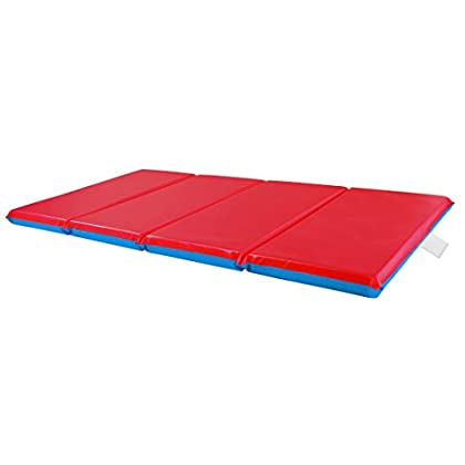 Image of ECR4Kids Premium 3-Fold Daycare Rest Mat, Blue and Red (2' Thick) Comfort Mats