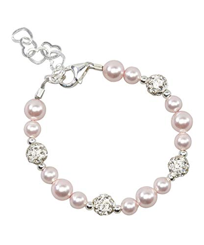 6cfcea0a2 Crystal Dream Elegant Pave Beads with Pink Swarovski Simulated Pearls  Stylish Sparkly Sterling Silver Infant Bracelet