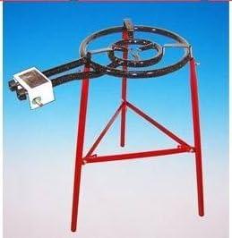 Paelleras EL CID Tarifa - Grill para paella (quemador de gas de 2 llamas de 40 cm, 13,5 KW, sartén de 50 cm, patas reforzadas, incluye tubo y reductor de presión)