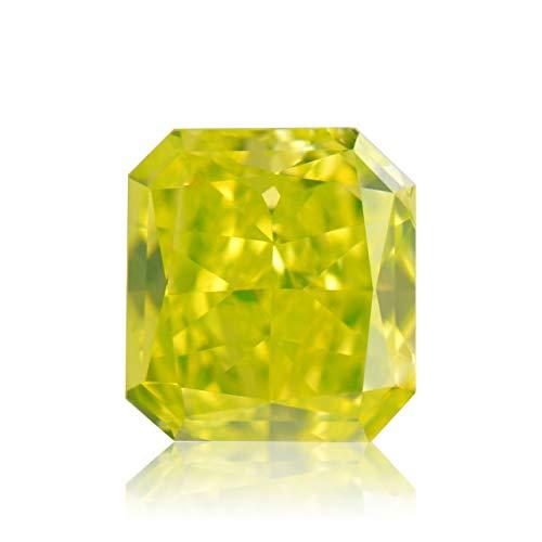 Leibish & Co 0.47 Carat Fancy Vivid Green Yellow Loose Diamond Natural Color Radiant Cut GIA - Fancy Yellow Radiant Cut Diamond