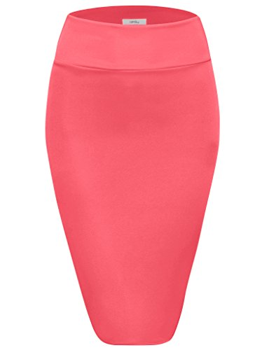 Scuba Pencil Skirt Midi Bodycon Skirt Below Knee Skirt, Office Skirt High Waist (Size Small, Neon Pink) -