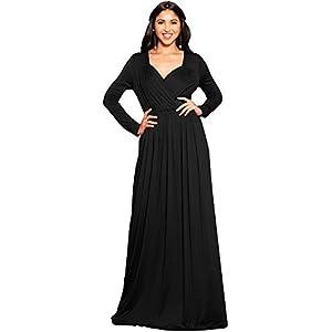 d742ca3316567 KOH KOH Plus Size Women Long Sleeve Sleeves Empire Waist Floor-length  Cocktail Elegant Evening Fall Modest Winter Formal Abaya Cute Gown Gowns  Maxi Dress ...