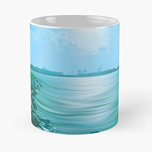 Crosby Marina Liverpool Docks Skyline Beach - White -coffee Mug- Unique Birthday Gift-the Best Gift For Holidays- 11 Oz.