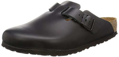 Birkenstock womens Boston in Black from Leather Clogs 40.0 EU W (Birkenstock Clog Sandal)