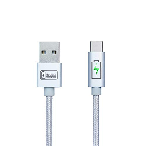 Type C - USB Cable by SPEED CHARGER ZONE | Silver | Smart LED Indicator, Fast Charging, Nylon Braided, Compatible w/ Samsung Galaxy S9/S8/Note, Pixel 2/3/XL, LG V30S/G6, HTC U11, Moto X/Z/2 and more