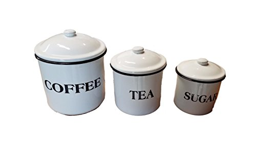 Canister Tea Vintage (Vintage White Enamel Canister Set of 3 Coffee Tea Sugar)