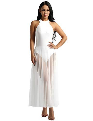 FEESHOW Lyrical Women Adult Mock Neck High-Low Dance Dress Ballet Leotard Flowy Split Skirt White Large]()