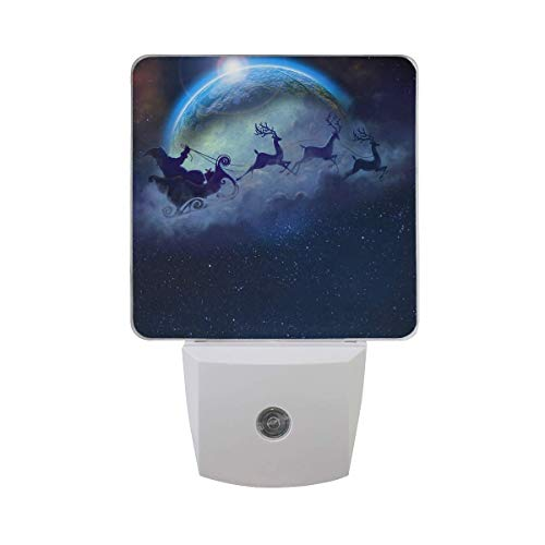 Fashionable 2 Pack 0.5W Plug-in LED Night Light Lamp with Dusk to Dawn Sensor, Night Home Decor Bed Lamp - Elk Nightmare Before -