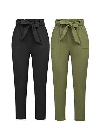 GRACE KARIN Women's Pants Casual Cropped High Waist Pants 2pcs S Black and Army ()