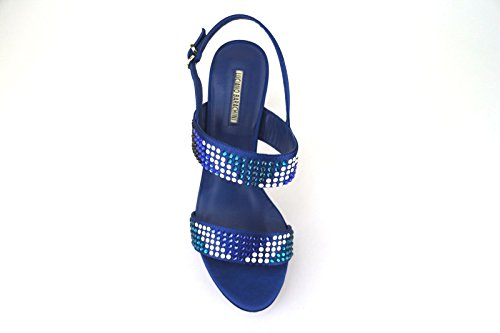 Zapatos Mujer LUCIANO BARACHINI 39 EU Sandalias Azul Satén Strass AH89