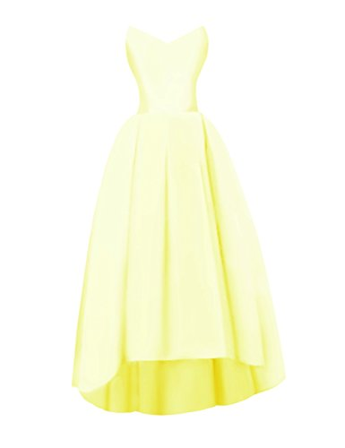 Bess Bridal Women's V Neck High Low Lace Up Satin Prom Gowns Evening Dresses US2 Daffodil ()