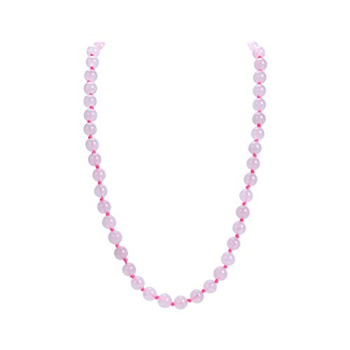 Malahill Natural Gemstone Necklace, Hand Knotted Birthstone Necklace, 18 inches Long (Rose Quartz 8mm) (Knotted Natural Hand)
