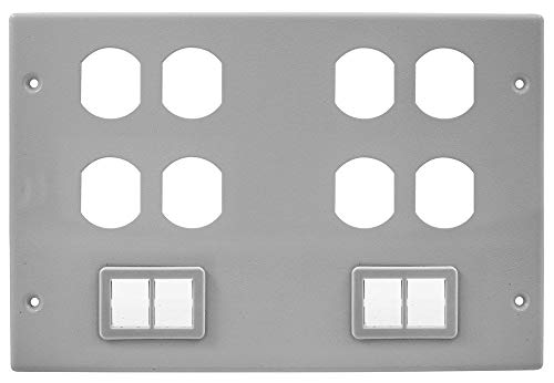 Hubbell Wiring Systems HBL67473BBBBTTGY Steel Metal Raceway Four Duplex Two Ortronics TracJack Mini Adapter Bezel Cover Plate, 6 Gang, 10-7/32