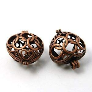 Large Antiqued Copper Open Filigree Heart 30mm Hinged Bead Cage Drop Pendant 1pc Crafting Key Chain Bracelet Necklace Jewelry Accessories Pendants
