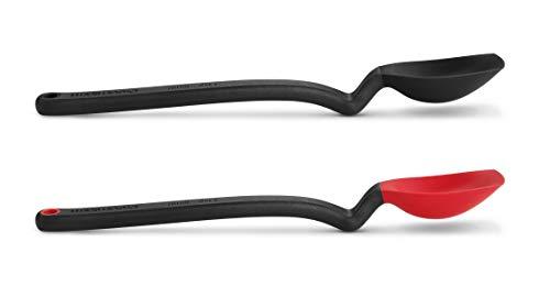 Dreamfarm Silicone Jar Scraping Spoon Mini Supoon 2 Pack, Teaspoon, Black and Red