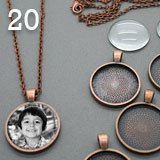 20 Pack Copper Round Glass Photo Pendants w/ 20 Copper Link Chains Bonus EZ Photo Jewelry Resizer Software