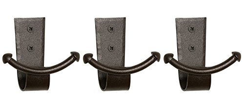 (RTZEN Handcrafted Wrought Iron Double Hook | Set of 3 | Decorative Black Hangers for Hanging Coat, Hat, Jacket, Robe, Bath Towel | Wall Mount Mug Hooks | Fine Handcraft Anchor Hook | Enjoy Spacy Home)