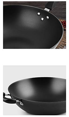 WYQSZ Wok pot home wok cast iron uncoated multi-purpose pig iron kitchen wok -fry pan 2365 (Size : 3220.5cm) by WYQSZ (Image #4)