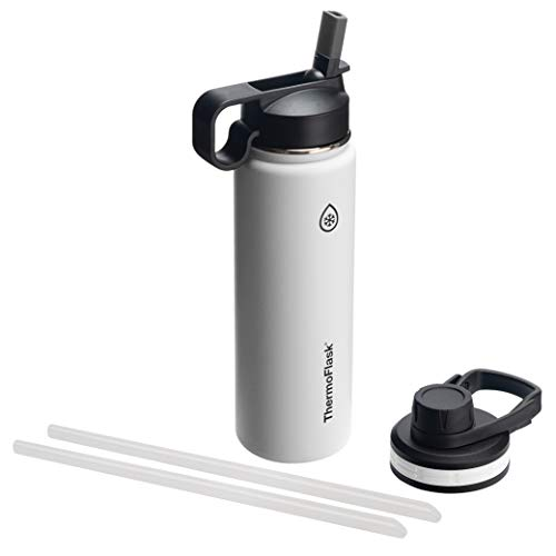 (Thermoflask 50051 Double Insulated Stainless Steel Water Bottle with Chug Straw Lid, 24 oz)