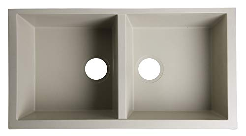 ALFI brand AB3420UM-B Undercount Double Bowl Granite Composite Kitchen Sink, 34