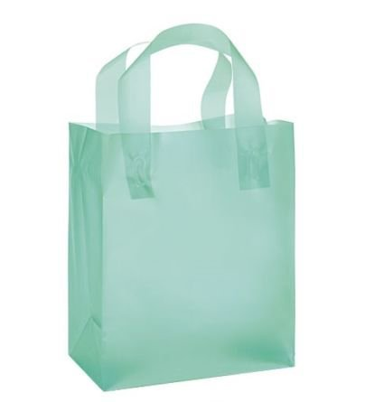 (JS Frosted Plastic Shopping Gift Bags (8