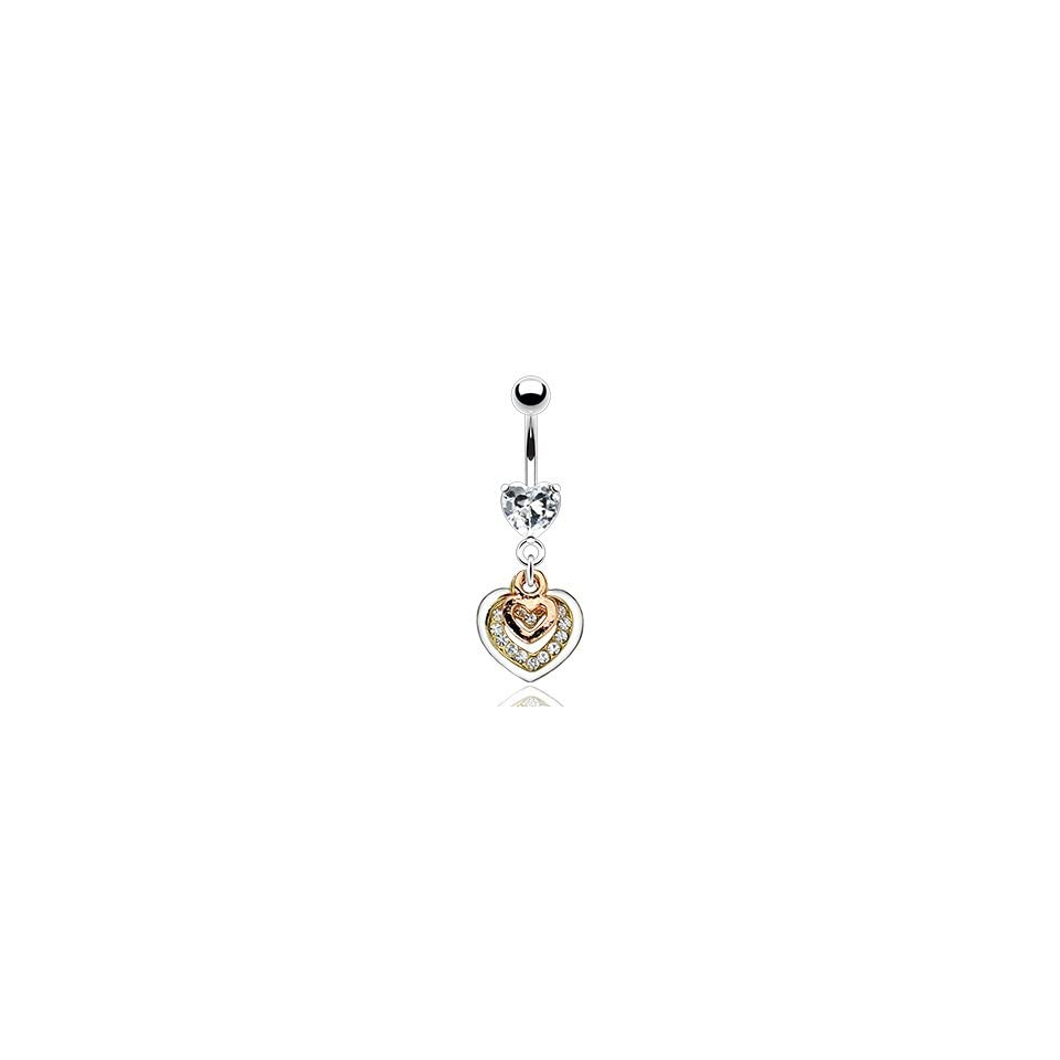 316L Prong Set Gem Belly Ring with Triple Tone Gem Pave Heart Dangle   14G   3/8 Bar Length   Sold Individually