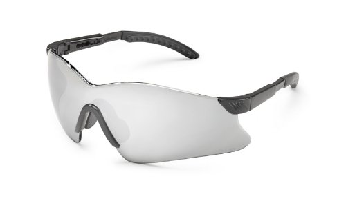Gateway Safety 14GB8M Hawk Wraparound Safety Glasses, Silver Mirror Lens, Black Temple