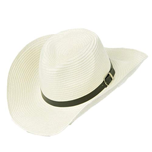 ASO-SLING Western Style Cowboy Cowgirl Straw Hat Outback Sunhat Cattleman Hat with Belt Buckle Beige