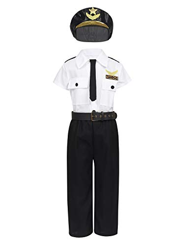 FEESHOW Childrens Kids Boys Airline Pilot Aviator Role Play Costume Dress up Uniform Suit Hat Neck-tie Halloween Cosplay Outfit White&Black 3-4