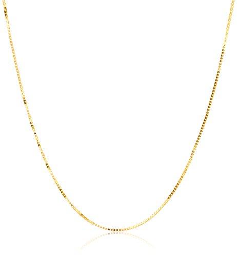 18k Gold Chain - 18k Yellow Gold Italian .5mm Diamond-Cut Box Chain Necklace, 16