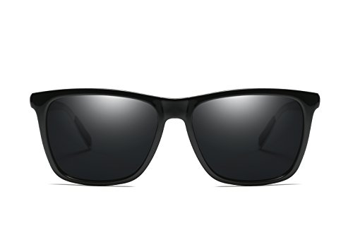 Lente Negro Ultra Hombre Espejo WHCREAT Sol Diseño Lente para Polarizadas Moda De Gafas De Conducción Espejada 02 Negro Retro Mujer y Vintage Brazos Unisex 7qHqPOaw