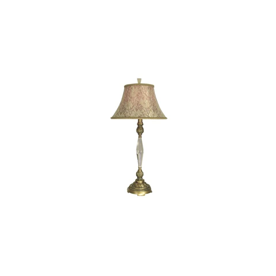 Dale Tiffany PT60345 Colony Table Lamp, Antique Brass and Fabric Shade