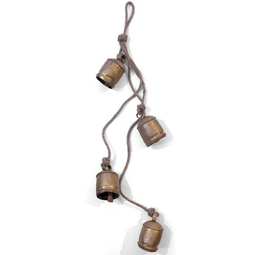 (Four Large Chunky Rustic Vintage Indian Cow Bells on Rope - Wall Hanging Decor - Fair Trade - Free Postage)