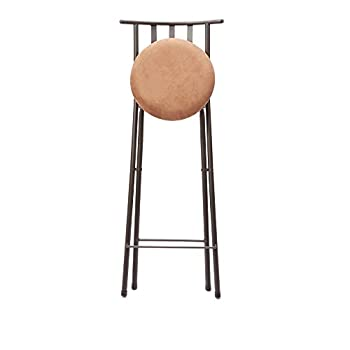 "Slat Back Folding 30"" Barstool, Bronze with Beige Microfiber Cushion"