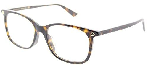 Gucci GG 0157O 002 Havana Plastic Square Eyeglasses - Brands Optical Glasses