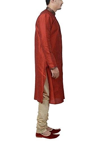 Manyavar Men's Regular Fit Banded Collar Kurta & Churidar Set (Maroon, X-Large)
